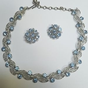 Lisner Jewelry - Vintage Lisner Aquamarine Blue Leaf Necklace Set